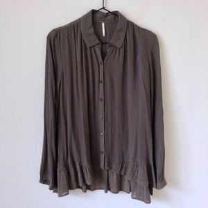 Free People olive blouse button down peplum hem